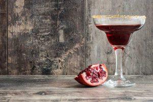pomegranite cocktail on a bar